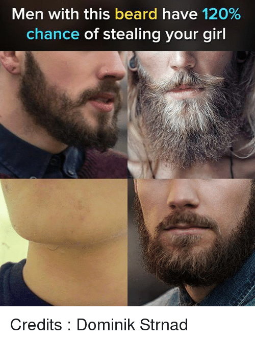 Beard, Memes, and Girl: Men with this beard have 120%  chance of stealing your girl Credits : Dominik Strnad
