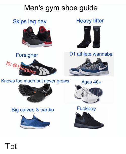Fuckboy, Gym, and Memes: Men's gym shoe guide  Heavy lifter  Skips leg day  D1 athlete wannabe  Foreigner  10: thegainneve  @thegainz  Ages 40+  Knows too much but never grows  Fuckboy  Big calves & cardio Tbt