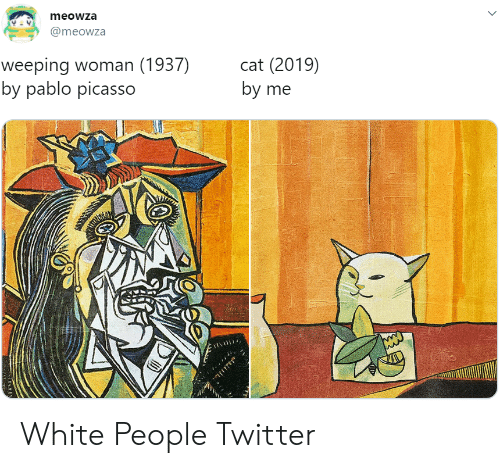 Twitter, White People, and Pablo Picasso: meowza  @meowza  weeping woman (1937)  by pablo picasso  cat (2019)  by me White People Twitter