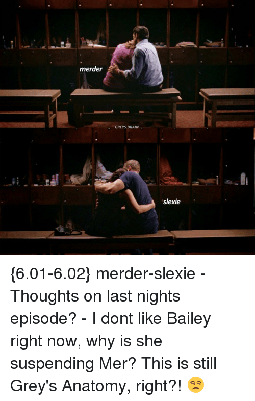 suspenders: merder  GREYS, BRAIN  sslexie {6.01-6.02} merder-slexie - Thoughts on last nights episode? - I dont like Bailey right now, why is she suspending Mer? This is still Grey's Anatomy, right?! 😒
