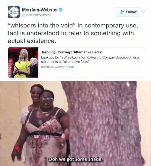 merriam webster: Merriam-Webster  (Мсттam  Webster  Follow  @MerriamWebster  *whispers into the void* In contemporary use,  fact is understood to refer to something with  actual existence.  Trending: Conway: 'Alternative Facts  Lookups for 'fact spiked after Kellyanne Conway described false  statements as 'alternative facts'  merriam-webster.com   Ooh we got some shade.