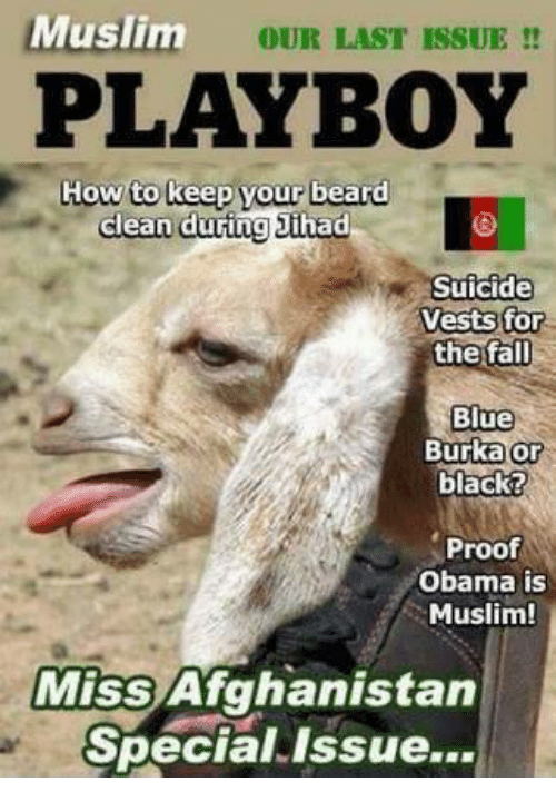 burka: MESİLL  Muslim  OUR LAST ISSUE !!  PLAYBOY  owto keep vour beare  dlean during 3ihad  Suicide  Vests for  the fall  Blue  Burka or  black?  Proof  Obama is  Muslim!  Miss Afghanistan  Special Issue...