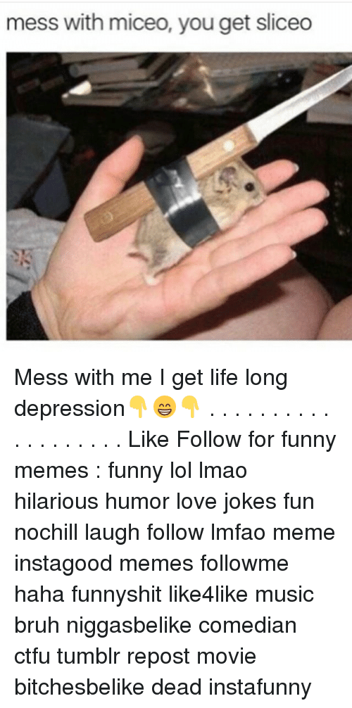 messing with me: mess with miceo, you get sliceo Mess with me I get life long depression👇😁👇 . . . . . . . . . . . . . . . . . . . Like Follow for funny memes : funny lol lmao hilarious humor love jokes fun nochill laugh follow lmfao meme instagood memes followme haha funnyshit like4like music bruh niggasbelike comedian ctfu tumblr repost movie bitchesbelike dead instafunny