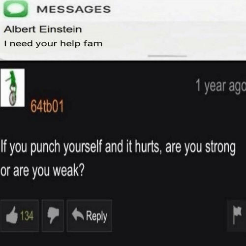 Albert Einstein, Fam, and Einstein: MESSAGES  Albert Einstein  I need your help fam  1 year ago  64tb01  If you punch yourself and it hurts, are you strong  or are you weak?  134  Reply