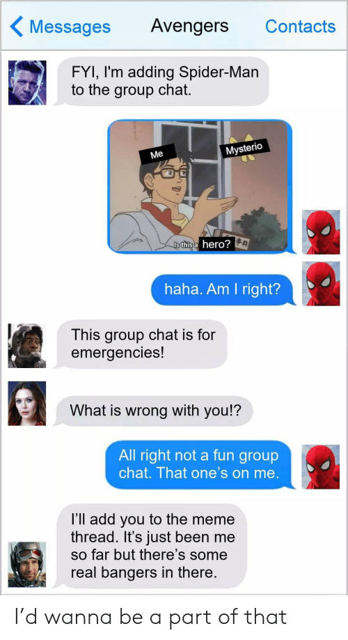 contacts: Messages  Avengers  Contacts  FYI, I'm adding Spider-Man  to the group chat.  Mysterio  Me  Is this a hero?  haha. Am I right?  This group chat is for  emergencies!  What is wrong with you!?  All right not a fun group  chat. That one's on me.  l'll add you to the meme  thread. It's just been me  so far but there's some  real bangers in there. I'd wanna be a part of that