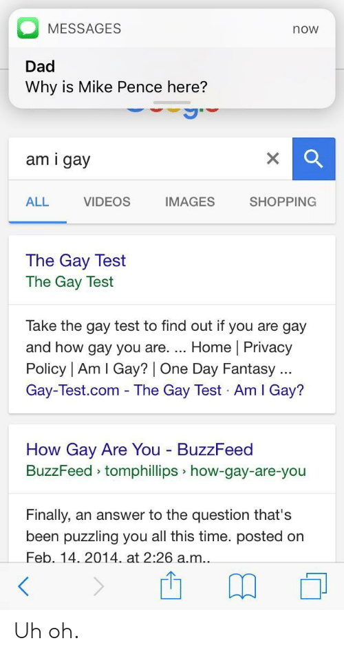 You Are Gay: MESSAGES  Dad  Why is Mike Pence here?  now  am i gay  ALL  VIDEOS  IMAGES  SHOPPING  The Gay Test  The Gay Test  Take the gay test to find out if you are gay  and how gay you are. Home | Privacy  Policy | Am I Gay? | One Day Fantasy  Gay-Test.com - The Gay Test Am I Gay?  How Gay Are You BuzzFeed  BuzzFeed tomphillips how-gay-are-you  Finally, an answer to the question that's  been puzzling you all this time. posted on  Feb. 14. 2014 at 2:26 a.m.. Uh oh.