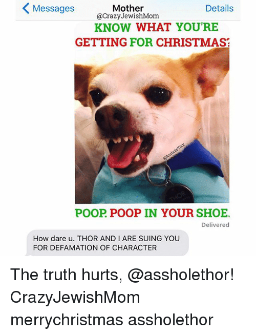 Defamation: Messages  Details  Mother  @Crazy JewishMom  KNOW WHAT YOU'RE  GETTING FOR CHRISTMAS  POOP POOP IN YOUR SHOE.  Delivered  How dare u. THOR AND I ARE SUING YOU  FOR DEFAMATION OF CHARACTER The truth hurts, @assholethor! CrazyJewishMom merrychristmas assholethor