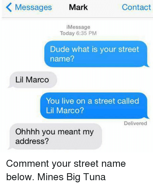 Lil Marco: Messages Mark  Contact  iMessage  Today 6:35 PM  Dude what is your street  name?  Lil Marco  You live on a street called  Lil Marco?  Delivered  Ohhhh you meant my  address? Comment your street name below. Mines Big Tuna