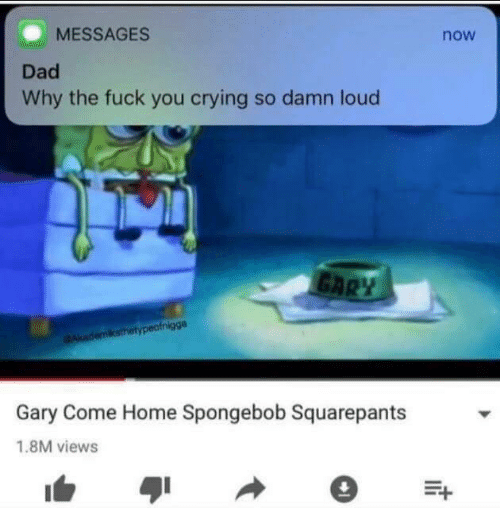 Crying, Dad, and Fuck You: MESSAGES  now  Dad  Why the fuck you crying so damn loud  Gary Come Home Spongebob Squarepants  1.8M views