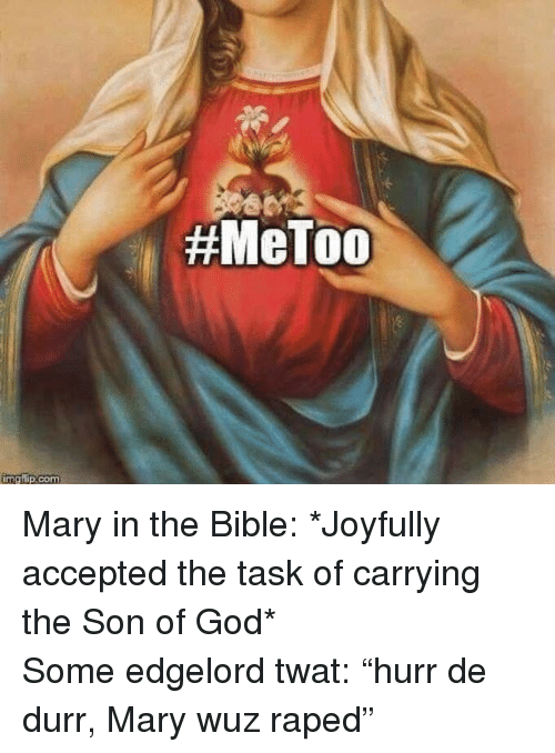 """Wuz: <p>Mary in the Bible: *Joyfully accepted the task of carrying the Son of God*<br/> Some edgelord twat: """"hurr de durr, Mary wuz raped""""</p>"""