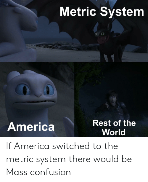 America World: Metric System  u/James BaldO07  Rest of the  America  World If America switched to the metric system there would be Mass confusion