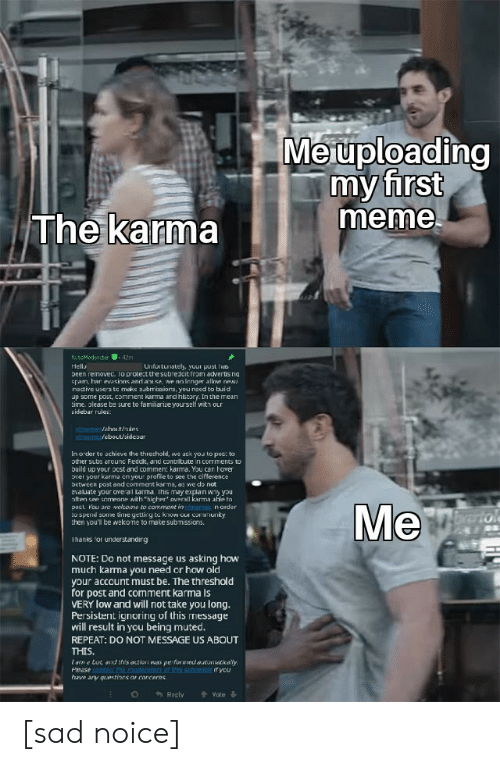 Community, Meme, and Memes: Meuploading  my first  meme  The karma  AutoModercta  42m  Hell  Unfurtunately, your pust hes  been removec. lo protect the subredcit from adverts ng  spam, har evasions and abuse, we no lenger allow nea  insctive users to make subrmrissiors, you need to buid  up some post, conment karma and hlistory. In the mean  time. please be sure to familiarize yourself with our  sidebar rules:  t/memes/ahoe.t/ndes  msme/ebout/sideoar  In o der to achieve the threshold, we ask you to pos: to  ther subs arounc Feddt, and contribute in comments to  build up your pcst and comment kama. You can hover  over your karma cn your profile to see the ciflerence  between post and comment kar ma, as we do not  evauate your overal karma. Ihis may explan wny you  often see semeane with higher' avarall karma afle to  post. You are welcome to commont in tmemes norder  to spend some time getting to know our community  then you'l be welcome to make submissions.  Me  arto  Thanks for understandirg  NOTE: Do not message us asking how  much karma you need or how old  your account must be. The threshold  for post and comment karma is  VERY low and will not take you long.  Persistent ignoring of this message  will result in you being muted.  REPEAT: DO NOT MESSAGE US ABOUT  THIS.  ame bot and this action was pefowwed automaticaly  Pease contac the ncderatoers of thes subriat f you  have any questiors or concerns  Recly  Vote [sad noice]