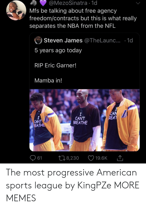 Dank, Memes, and Nba: @MezoSinatra 1d  Mfs be talking about free agency  freedom/contracts but this is what really  separates the NBA from the NFL  Steven James @TheLaun.. .1d  5 years ago today  RIP Eric Garner!  Mamba in!  CAN  REAT  I  CAN'T  BREATHE  A  CANT  REATHE  L18,230  61  19.6K The most progressive American sports league by KingPZe MORE MEMES