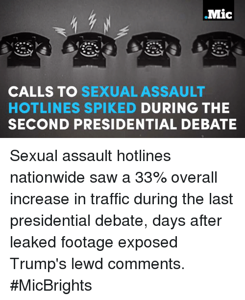 Ed, Edd n Eddy: Mic  CALLS TO SEXUAL ASSAULT  HOTLINES SPIK ED DURING THE  SECOND PRESIDENTIAL DEBATE Sexual assault hotlines nationwide saw a 33% overall increase in traffic during the last presidential debate, days after leaked footage exposed Trump's lewd comments.  #MicBrights