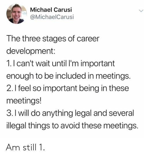 Michael, Three, and Will: Michael Carusi  @MichaelCarusi  The three stages of career  development:  1.I can't wait until I'm important  enough to be included in meetings.  2.I feel so important being in these  meetings!  3. I will do anything legal and several  illegal things to avoid these meetings. Am still 1.