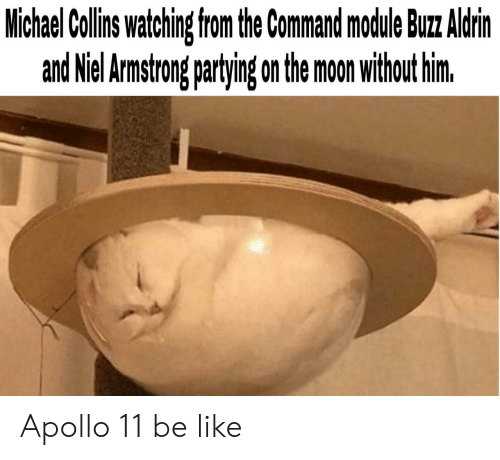 armstrong: Michael Collins watching from the Command mocdule Buz Aldrin  and Niel Armstrong partying on the moon without him. Apollo 11 be like