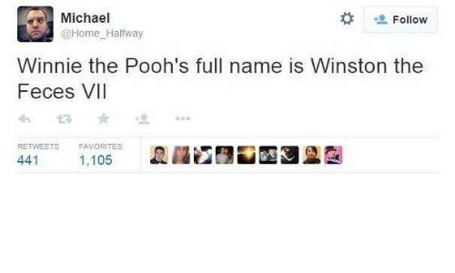 full name: Michael  Follow  @Home_Halfway  Winnie the Pooh's full name is Winston the  Feces VII  RETWEETS  FAVORITES  441  1,105