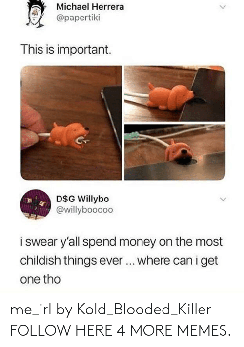 Dank, Memes, and Money: Michael Herrera  @papertiki  4  This is important.  D$G Willybo  @willyboooo0  i swear y'all spend money on the most  childish things ever... where can i get  one tho me_irl by Kold_Blooded_Killer FOLLOW HERE 4 MORE MEMES.