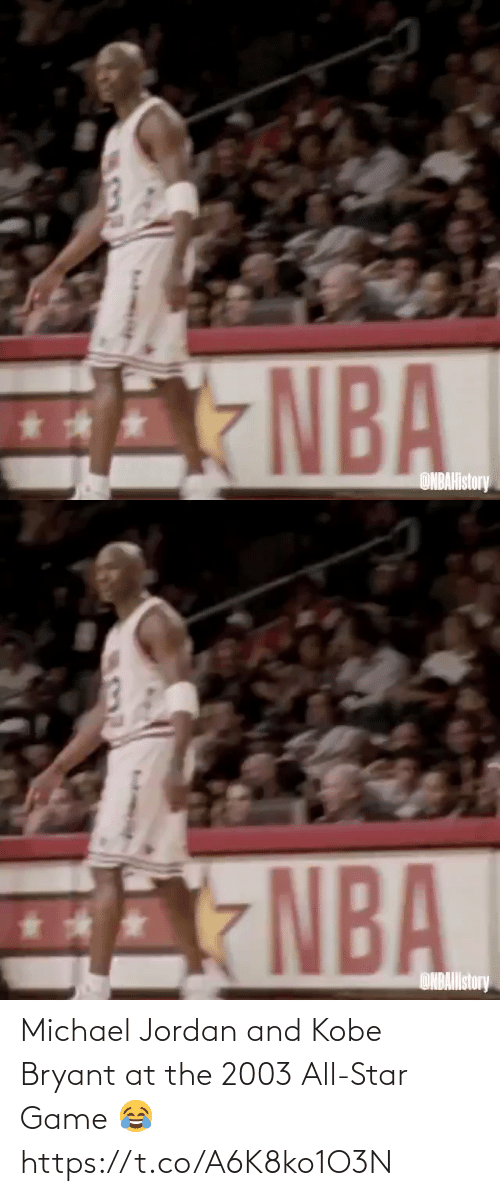 Kobe Bryant: Michael Jordan and Kobe Bryant at the 2003 All-Star Game 😂  https://t.co/A6K8ko1O3N