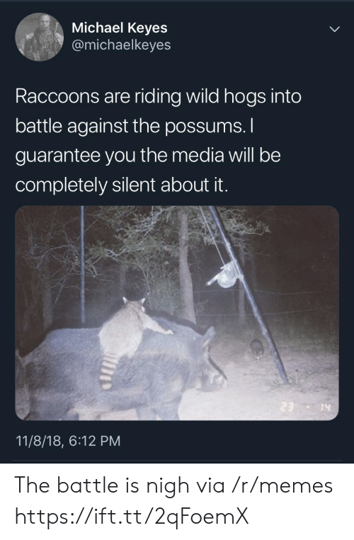 Possums: Michael Keyes  @michaelkeyes  Raccoons are riding wild hogs into  battle against the possums.  guarantee you the media will be  completely silent about it.  14  11/8/18, 6:12 PM The battle is nigh via /r/memes https://ift.tt/2qFoemX