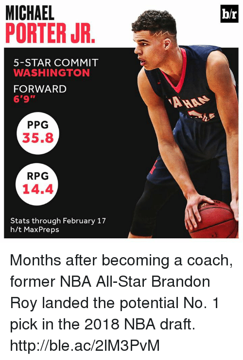 """nba all stars: MICHAEL  PORTER JR  b/r  5-STAR COMMIT  WASHINGTON  FORWARD  6'9""""  PPG  35.8  RPG  14.4  Stats through February 17  h/t MaxPreps Months after becoming a coach, former NBA All-Star Brandon Roy landed the potential No. 1 pick in the 2018 NBA draft. http://ble.ac/2lM3PvM"""