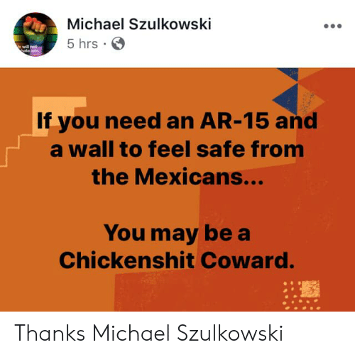 Ar 15: Michael Szulkowski  5 hrs  will not  to  If you need an AR-15 and  a wall to feel safe from  the Mexicans...  You may be a  Chickenshit Coward. Thanks Michael Szulkowski