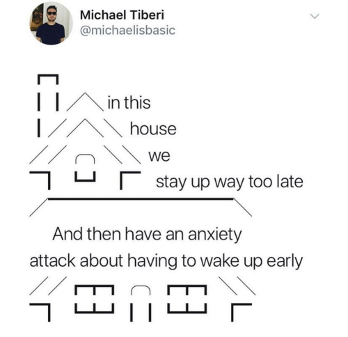 In This House: Michael Tiberi  @michaelisbasic  in this  house  we  |stay up way too late  And then have an anxiety  attack about having to wake up early  //