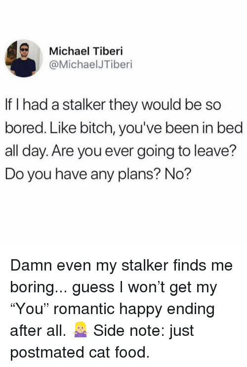 """Bitch, Bored, and Food: Michael Tiberi  @MichaelJTiberi  If I had a stalker they would be so  bored. Like bitch, you've been in bed  all day. Are you ever going to leave?  Do you have any plans? No? Damn even my stalker finds me boring... guess I won't get my """"You"""" romantic happy ending after all. 🤷🏼♀️ Side note: just postmated cat food."""