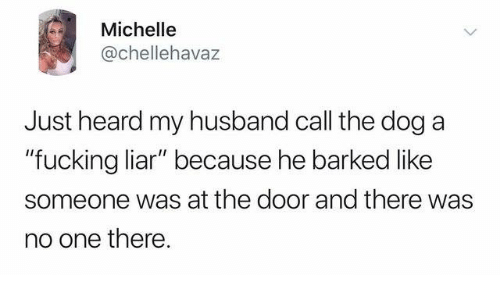 """Dank, Fucking, and Husband: Michelle  @chellehavaz  Just heard my husband call the dog a  """"fucking liar"""" because he barked like  someone was at the door and there was  no one there."""
