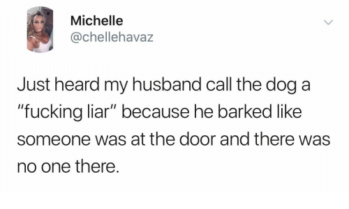 """Fucking, Husband, and Dog: Michelle  @chellehavaz  Just heard my husband call the dog a  """"fucking liar"""" because he barked like  someone was at the door and there was  no one there."""