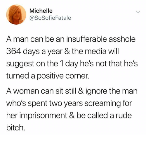 Bitch, Memes, and Rude: Michelle  @SoSofieFatale  A man can be an insufferable asshole  364 days a year & the media wll  suggest on the 1 day he's not that he's  turned a positive corner.  A woman can sit still & ignore the man  who's spent two years screaming for  her imprisonment&be called a rude  bitch.