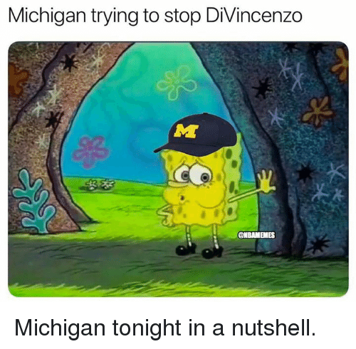 Divincenzo: Michigan trying to stop DiVincenzo  @NBAMEMES Michigan tonight in a nutshell.