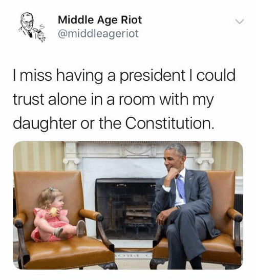 middle age: Middle Age Riot  @middleageriot  I miss having a president I could  trust alone in a room with my  daughter or the Constitution