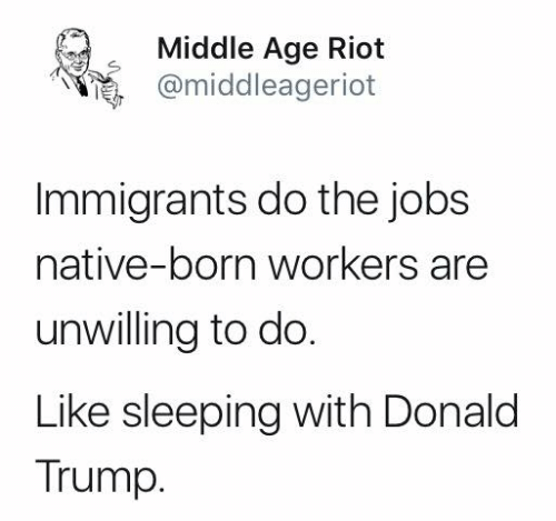 Donald Trump, Memes, and Riot: Middle Age Riot  @middleageriot  Immigrants do the jobs  native-born workers are  unwilling to do.  Like sleeping with Donald  Trump.
