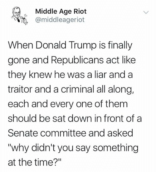 "riot: Middle Age Riot  @middleageriot  When Donald Trump is finally  gone and Republicans act like  they knew he was a liar and a  traitor and a criminal all along,  each and every one of them  should be sat down in front of a  Senate committee and asked  ""why didn't you say something  at the time?"""