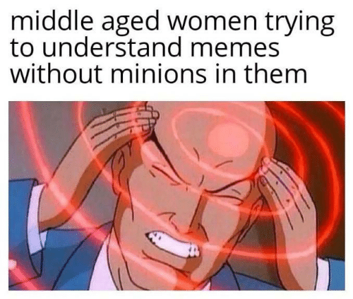 Memes, Minions, and Women: middle aged women trying  to understand memes  without minions in them