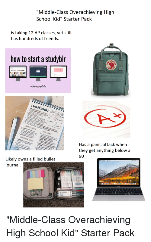 Middle Class Overachieving High School Kid Starter Pack Is Taking 12