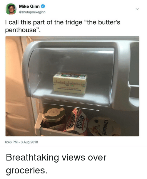 """Memes, 🤖, and Fridge: Mike Ginn  @shutupmikeginn  I call this part of the fridge """"the butter's  penthouse""""  15  6:46 PM-3 Aug 2018 Breathtaking views over groceries."""