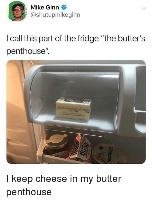 """Ironic, Cheese, and Fridge: Mike Ginn  @shutupmikeginn  I call this part of the fridge """"the butter's  penthouse"""". I keep cheese in my butter penthouse"""