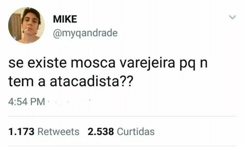 Pt-Br (Brazilian Portuguese), International, and Mike: MIKE  @myqandrade  se existe mosca varejeira pq n  tem a atacadista??  4:54 PM  1.173 Retweets 2.538 Curtidas