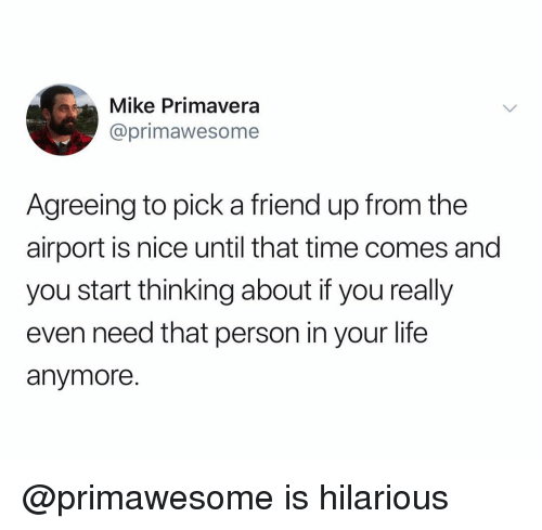 Life, Time, and Dank Memes: Mike Primavera  @primawesome  Agreeing to pick a friend up from the  airport is nice until that time comes and  you start thinking about if you really  even need that person in your life  anymore. @primawesome is hilarious