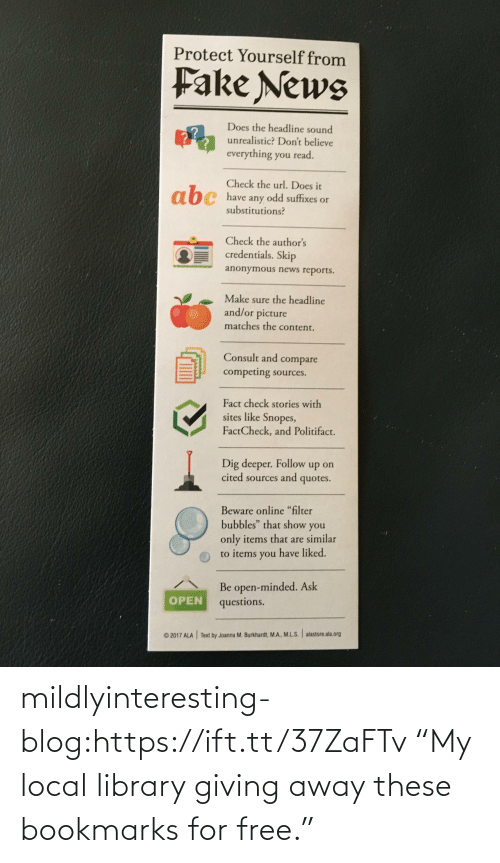 "These: mildlyinteresting-blog:https://ift.tt/37ZaFTv ""My local library giving away these bookmarks for free."""