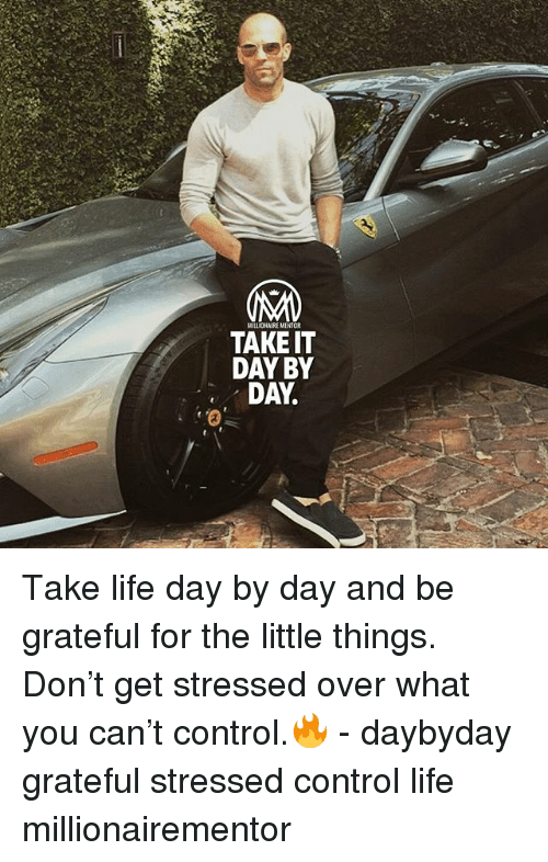 Life, Memes, and Control: MILLIOHAIRE MENTOR  TAKE IT  DAY BY  DAY Take life day by day and be grateful for the little things. Don't get stressed over what you can't control.🔥 - daybyday grateful stressed control life millionairementor