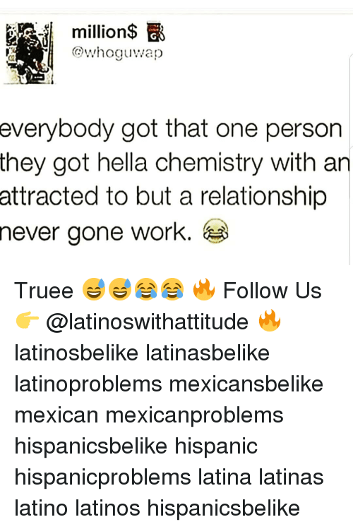 Latinos, Memes, and Work: million$  whoguwap  everybody  got that one person  they got hella chemistry with an  to but a relationship  gone work.  attracted  never Truee 😅😅😂😂 🔥 Follow Us 👉 @latinoswithattitude 🔥 latinosbelike latinasbelike latinoproblems mexicansbelike mexican mexicanproblems hispanicsbelike hispanic hispanicproblems latina latinas latino latinos hispanicsbelike