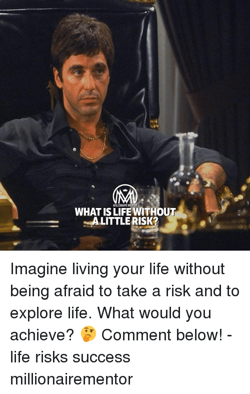 Life, Memes, and What Is: MILLIONAIRE MENIOR  WHAT IS LIFE WITHOUT  ALITTLERISK Imagine living your life without being afraid to take a risk and to explore life. What would you achieve? 🤔 Comment below! - life risks success millionairementor
