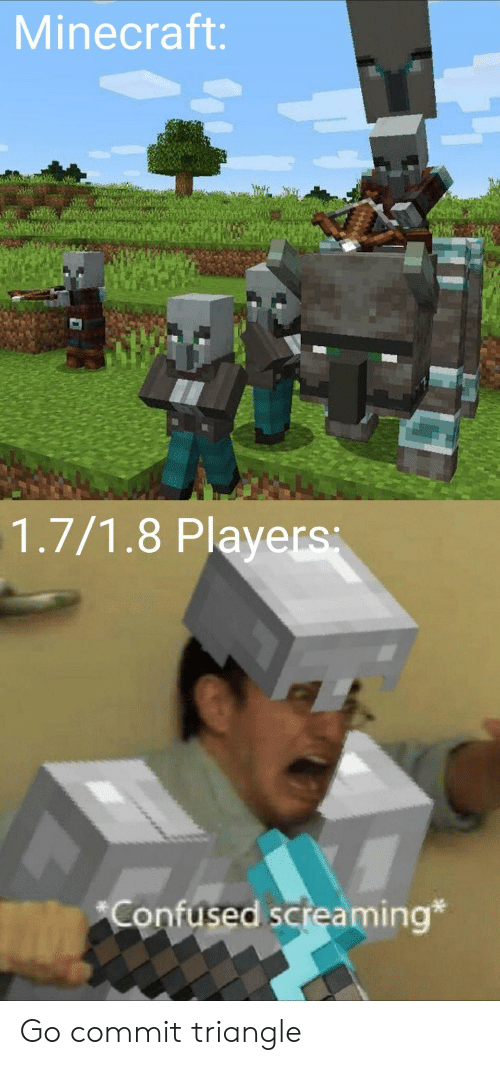 triangle: Minecraft:  1.7/1.8 Players  Confused screaming* Go commit triangle