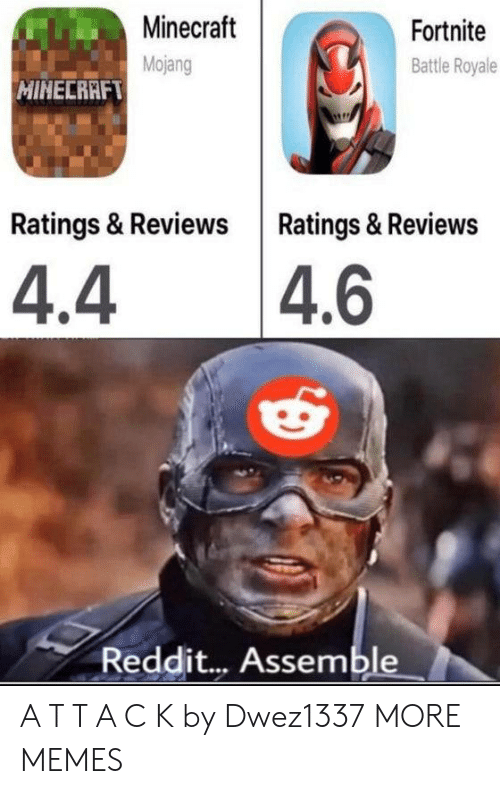 Battle Royale: Minecraft  Fortnite  Mojang  Battle Royale  MINECRAFT  Ratings & Reviews Ratings & Reviews  4.4 4.6  Reddit... Assemble A T T A C K by Dwez1337 MORE MEMES
