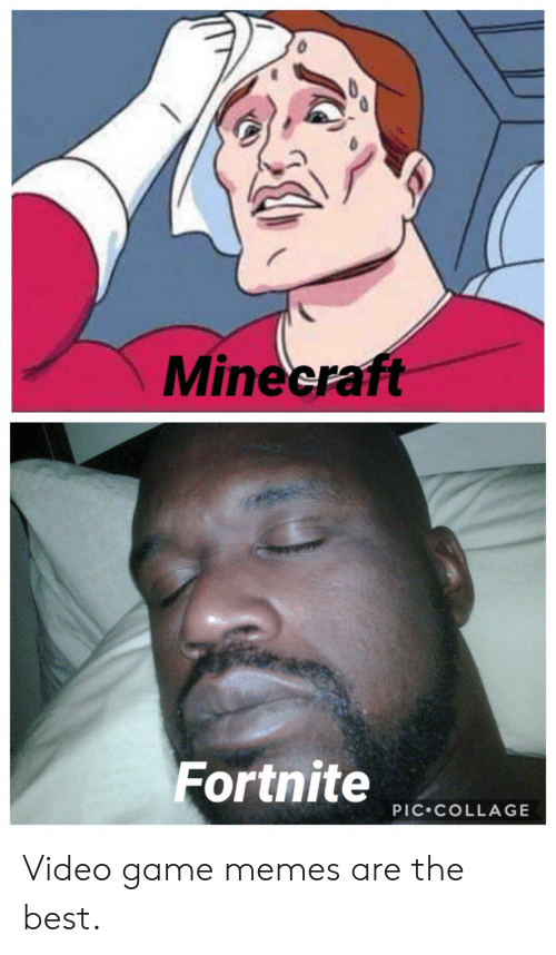 video game memes: Minecraft  Fortnite  PIC COLLAGE Video game memes are the best.