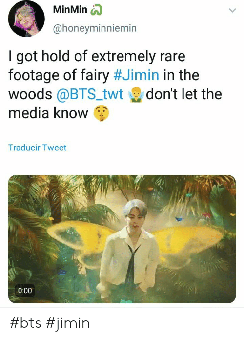 in the woods: MinMin  @honevminniemin  I got hold of extremely rare  footage of fairy #Jimin in the  woods @BTS_twt don't let the  media know  Traducir Tweet  0:00 #bts #jimin