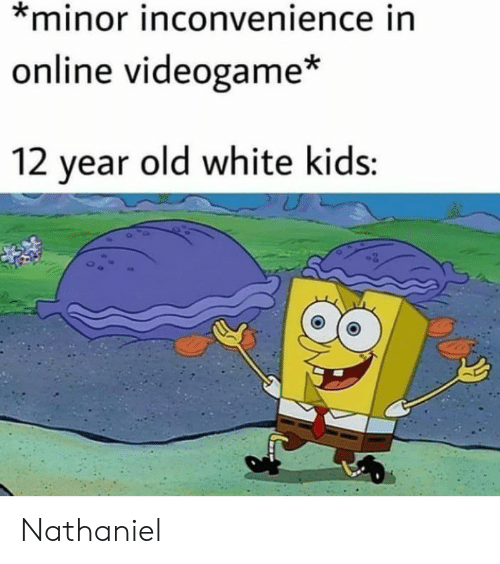 white kids: *minor inconvenience in  online videogame*  12 year old white kids: Nathaniel
